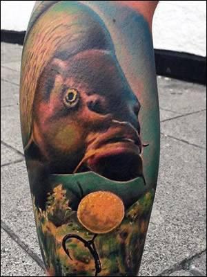 Carp Hooked Tattoo
